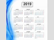 Plantilla calendario 2019 con fondo de onda Descargue