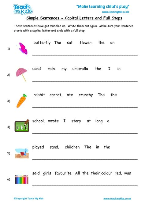 simple sentences capital letters and stops tmk