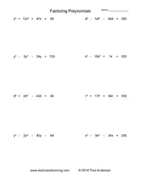 factoring polynomials practice worksheet generator by mental math worksheets