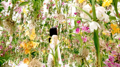 Floral Garden by Digitally Controlled Floating Flower Installation By
