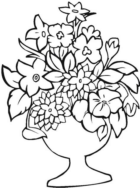flower vase coloring flower arrangement in flower vase coloring page coloring sky