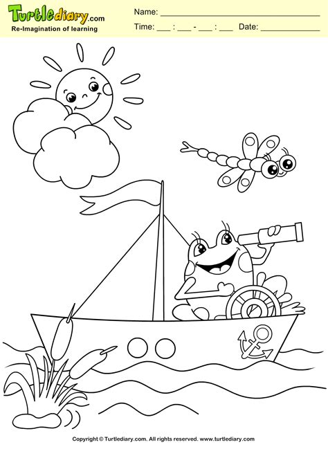 Coloring Sheet by Frog And Boat Coloring Sheet Turtle Diary