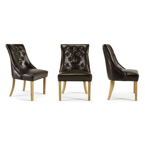 milena dining chair in brown bonded leather oak legs in a