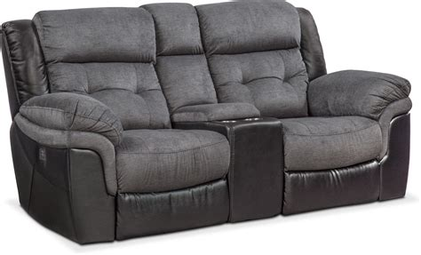Power Reclining Loveseat by Tacoma Dual Power Reclining Loveseat With Console Black