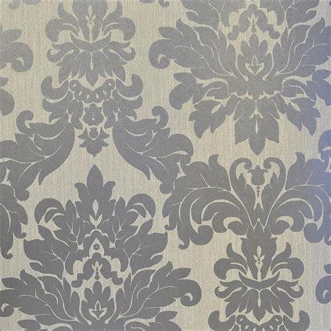 Grey Animal Print Wallpaper - versalles silver taupe grey damask 20108