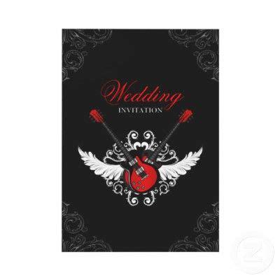 rock  roll wedding invitation zazzlecom rock