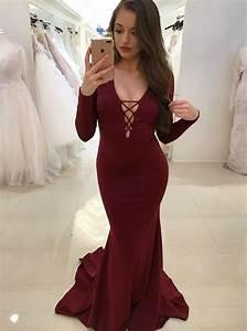 Sexy Prom Dresses Mermaid Burgundy Long Sleeve Cheap