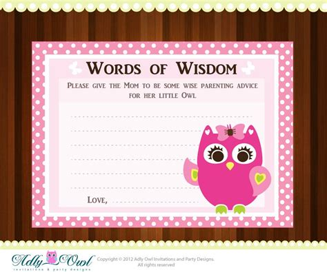 word for shower pink owl word of wisdom baby shower advice card printable