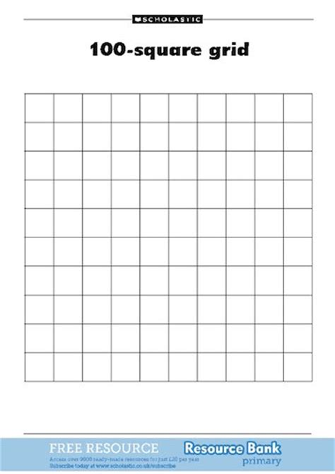foto de 100 square grid FREE Primary KS1 teaching resource