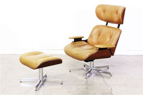 eames style leather lounge chair with ottoman vintage