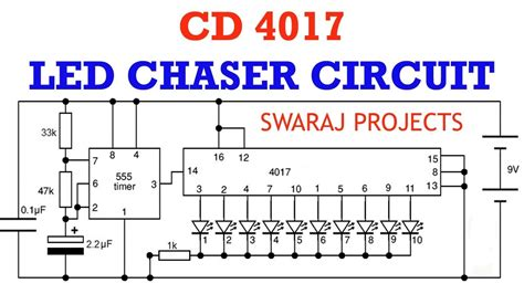 how to make led chaser circuit running light using ic 4017 ic 555