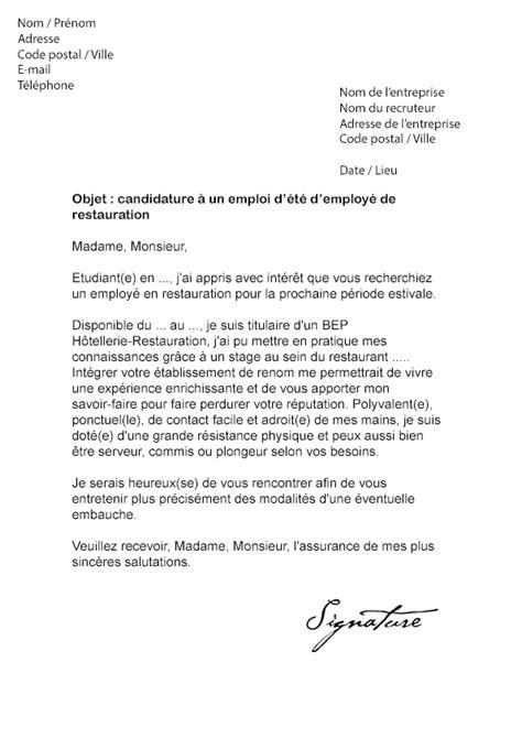 lettre de motivation chef de cuisine en restauration collective lettre de motivation restauration