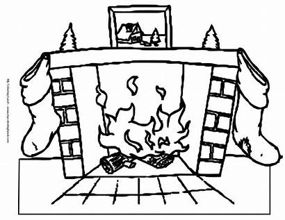 Christmas Fireplace Coloring Pages Santa Tree Sheet