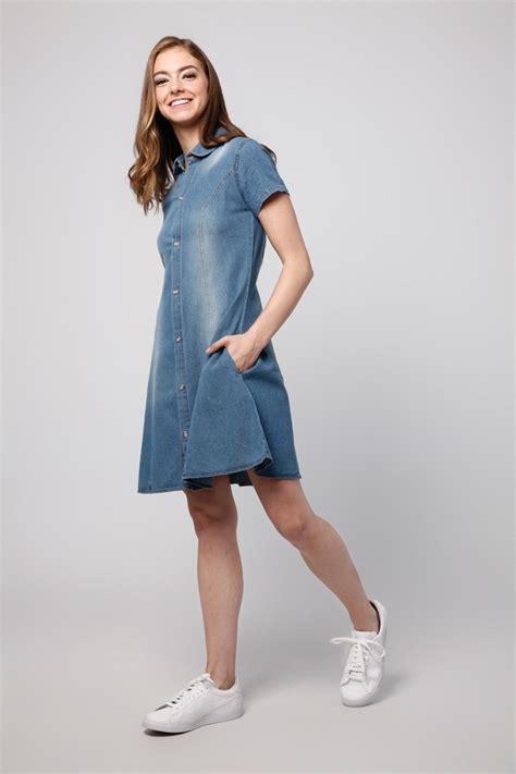 Dress Dona Denim denim dress blue lookboutiquestore