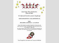 Einladung Kinderweihnachtsfeier