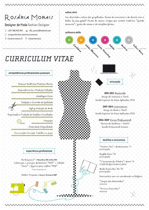 Contoh Resume Fashion Designer by Curriculum Vitae Ros 225 Ria Morais Fashion Designer