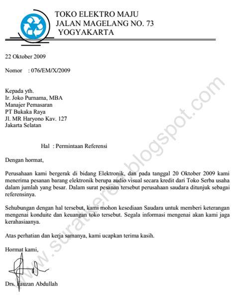 Contoh Surat Resmi Permintaan Barang by Surat Permintaan Referensi