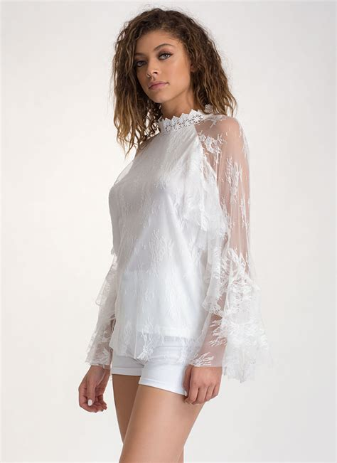 Sheer Top delicate touch ruffled sheer lace top black white gojane