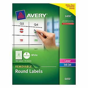 avery removable round inkjetlaser multipurpose labels 6450 With avery large round labels