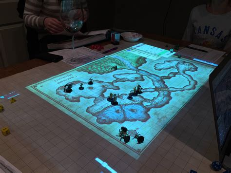 d and d table dungeons dragons and settlers of catan with projection