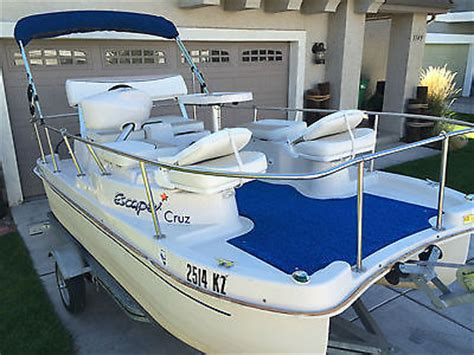 Escape Electric Boat by 2005 Escape 13 Fiberglass Electric Pontoon Boat
