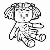 Doll Coloring Vector Children Illustration Cartoon Illustrations Clipart Vectors Clip Istock sketch template