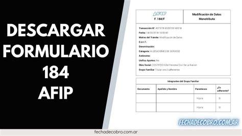 Como Descargar Formulario 184 AFIP? Constancia de Trámite