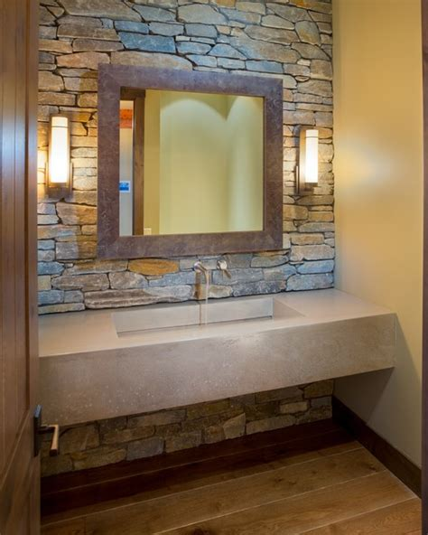 rustic bathroom sconces lakeshore mansion custom concrete vanity with integral