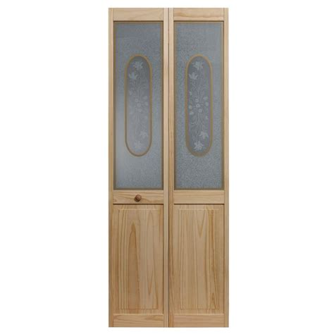 home depot glass interior doors pinecroft 36 in x 80 in full frosted glass pine interior bi fold door 873330 the home depot