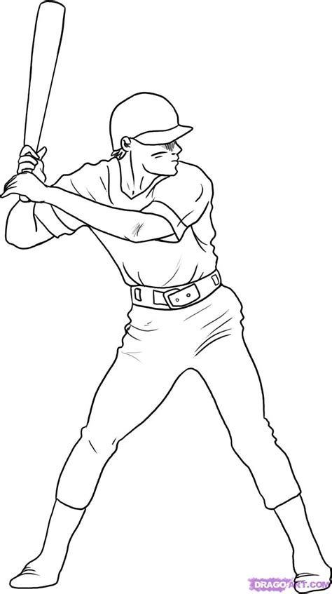 draw  baseball player step  step sports pop