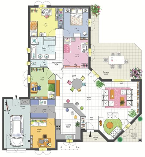 plan maison 3 chambres 1 bureau maison familiale 4 chambres avec bureau terrasse garage