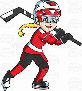 Cartoon Clipart: A Happy Female Hockey Player
