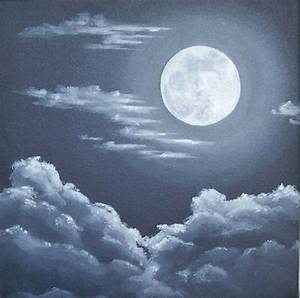 Moon and Clouds Painting, Night Sky, Full Moon Original ...