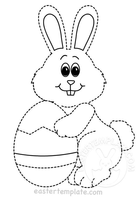 printable rabbit tracing page easter template