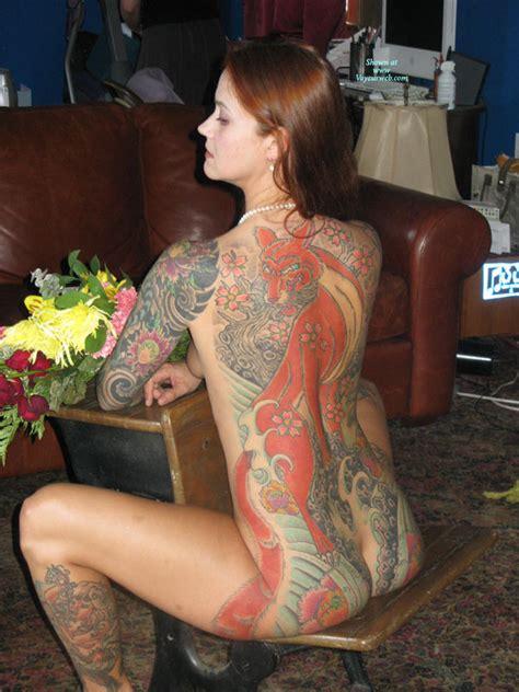 Tattooed Nude Brunette August Voyeur Web Hall Of Fame