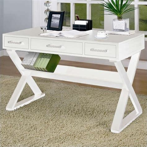 modern white desk with drawers coaster desks desk with three drawers in white