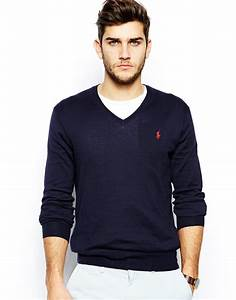 Polo V : polo ralph lauren jumper with v neck in slim fit in blue for men lyst ~ Gottalentnigeria.com Avis de Voitures