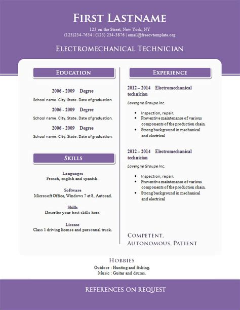 Microsoft Word Resume Templates 2014 Free by Free Cv Templates Microsoft Word