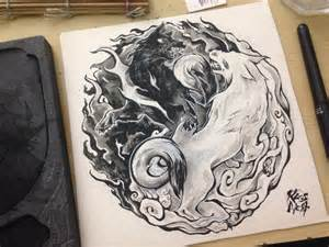 Yin Yang Wolf Tattoo Design