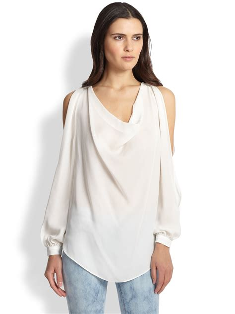 open blouses haute hippie open sleeve silk blouse in white swan lyst