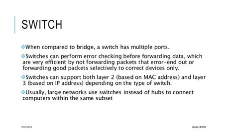 difference between hub bridge switch and router