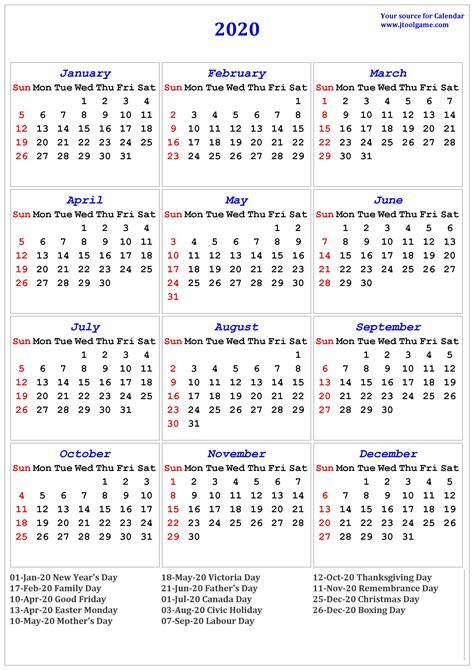 Free Printable Calendar 2020 Canada