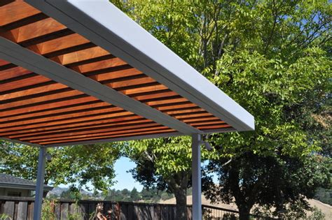 metal and wood pergola steel and wood arbor modern patio san francisco by huettl landscape architecture