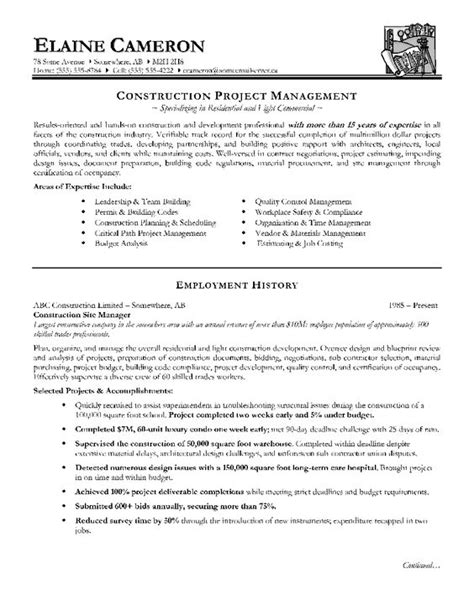 Construction Supervisor Resumes by Construction Manager Resume Page 1 Resume Writing Tips For All Occupations