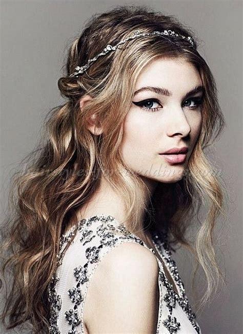 wavy hair wedding  headband hairstyles  pinterest