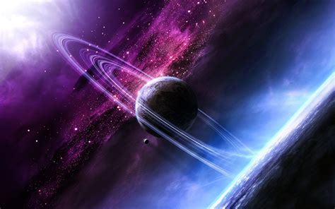 Purple And Blue Colours And Planets