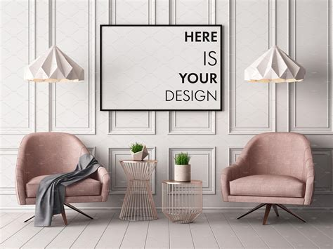 The mockup shows a poster hanging on a wall in a modern living room setting. Mockups posters in the interior | Interior, Classic interior, Living room interior