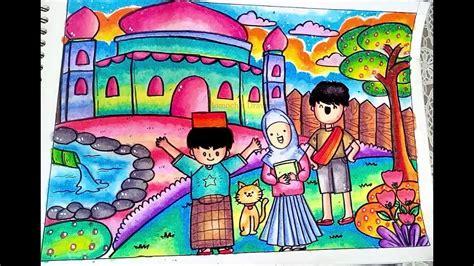 cara mewarnai gambar masjid untuk anak tk