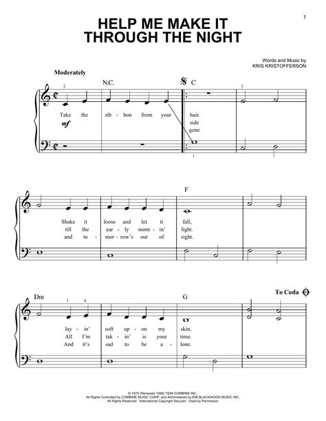 Help Me Make It Through The Night Sheet Music By Kris. Examples Of Interests For Resume. Mortgage Loan Officer Resume Sample. Format For Resume. How To Write Babysitting On Resume. Resume Maker Free Download. Skills To Put On A Resume For Sales Associate. Nursing Resume Templates Australia. Free Resume Templates In Word Format
