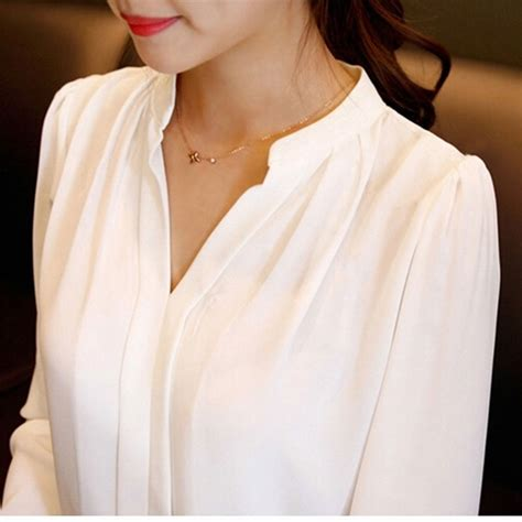 womens white blouse sleeve brand shirts solid sleeve blusas v neck
